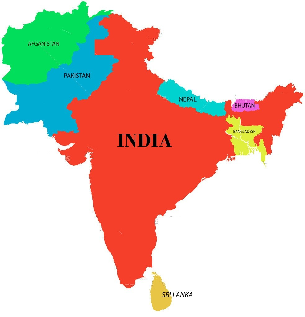 The illustration of south asia map with detailed india map.